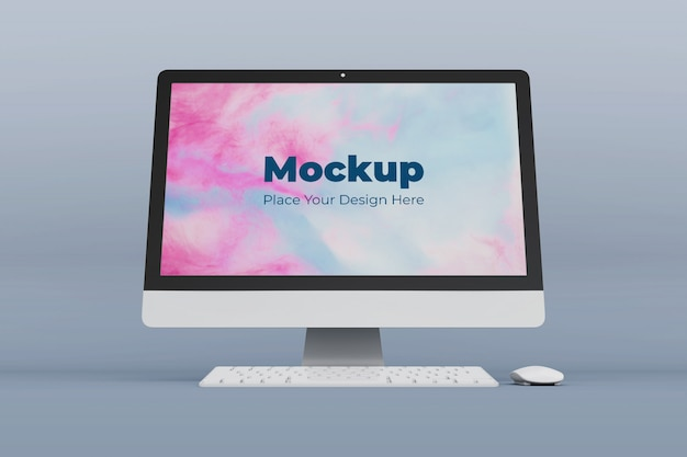 Changeable desktop screen mockup design template