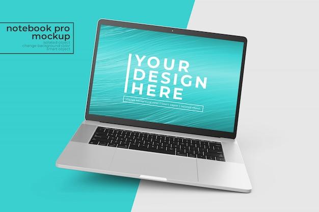 노트북을 편집하기 쉬운 변경 가능 중앙보기에서 직각 위치에서 조롱