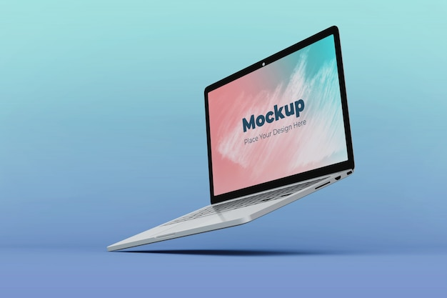 Changeable floating laptop display mockup design template