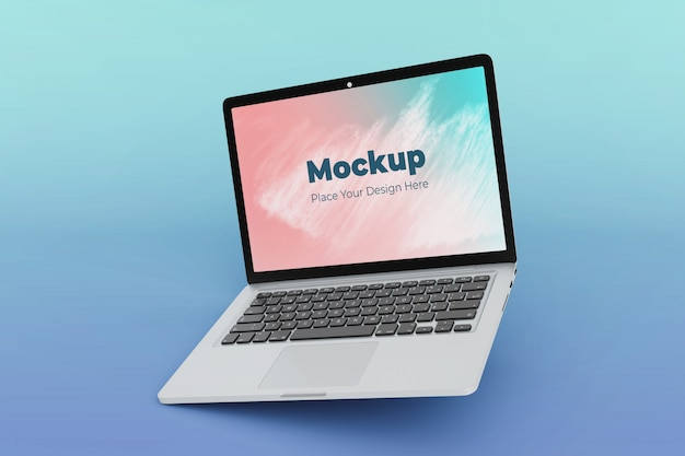Changeable floating laptop mockup design template