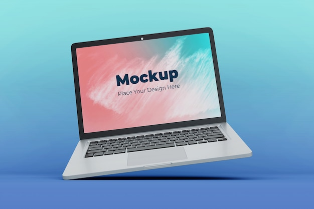 Changeable floating laptop screen mockup design template
