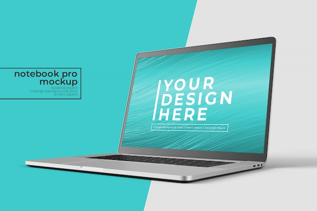 Changeable high quality easy  15 inch notebook pro for web, ui and apps photoshop mockup   in eye front right view