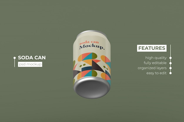 Changeable modern aluminum drink can mockup design