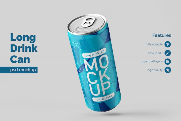 Changeable modern floating left long aluminium drink can mock up design template