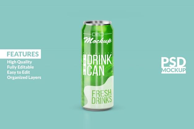 Changeable modern left long aluminium drink can mock up design template