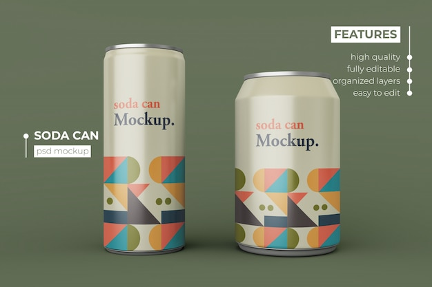 Changeable modern two aluminum soda can mockup design