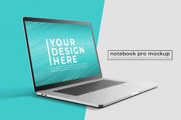 Сменные премиум-легкие 15-дюймовые ноутбуки pro в макете спереди слева с фоном