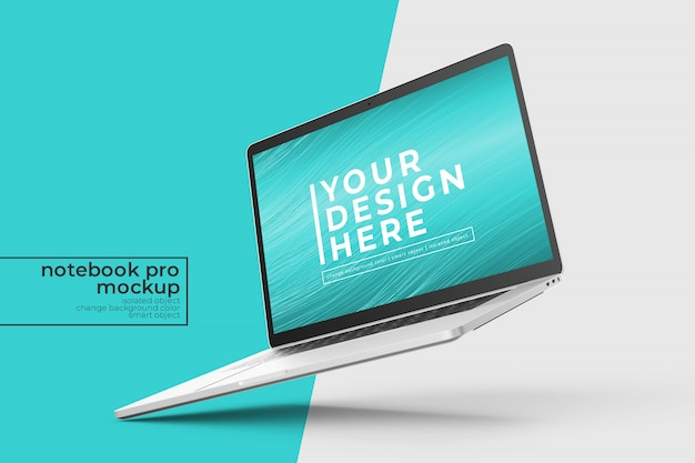 Changeable premium easy to edit 15 inch laptop mockups design  in left tilted position in right view