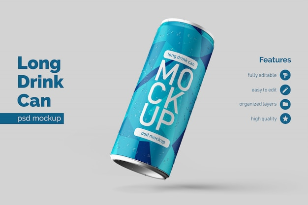 Changeable premium floating right long aluminium drink can mock up design templates