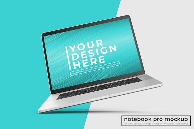 중앙 뷰에서 왼쪽으로 기울어 진 위치에서 변경 가능한 현실적인 프리미엄 노트북 프로 모형 디자인