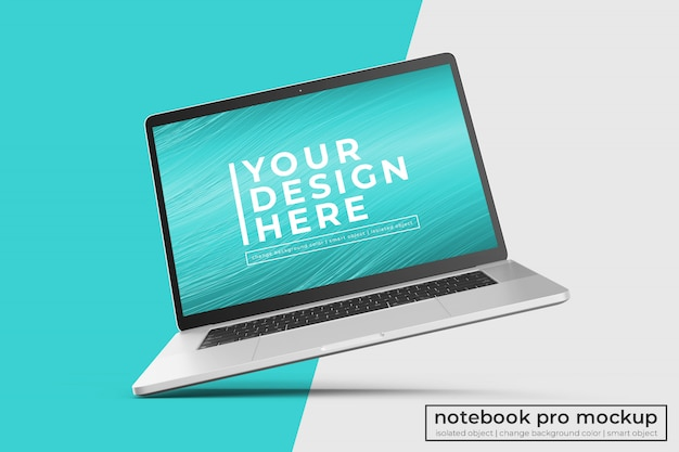 Changeable realistic premium laptop pro mockup design  in left tilted position in center view