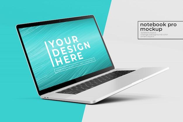 왼쪽보기에서 왼쪽 각도 위치에서 변경 가능한 현실적인 프리미엄 노트북 프로 psd 모형 디자인