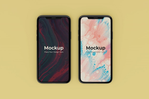 Changeable realistic two mobile screen mockups design templates