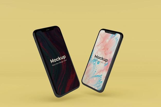 변경 가능한 현실적인 2 개의 전화 화면 모형 디자인 템플릿