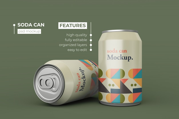 Changeable two soda can mockup design