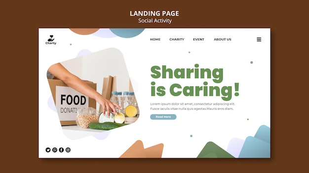 Charity activities landing page template