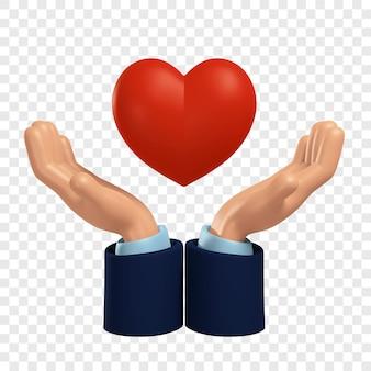 자선 및 기부 자원 봉사자의 3d 손을 잡고 심장 고립 된 3d 그림을 제공