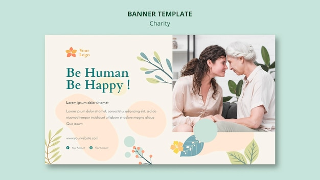 Charity banner template theme Free Psd