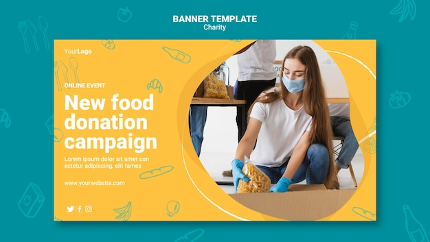 Modello di banner della campagna di beneficenza