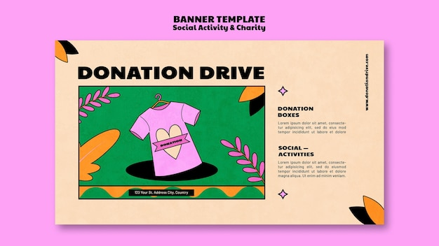 Charity donation banner template design