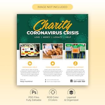 Charity fund collection square flyer or social media post for coronavirus crisis premium psd