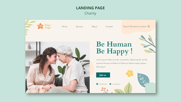 Charity landing page web template