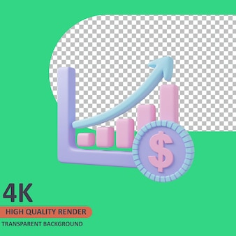 Chart 3d business icon illustration high quality render