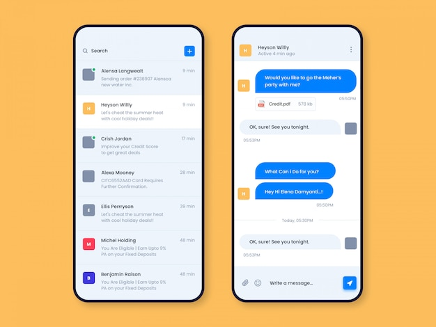 Chat app ui design ui template