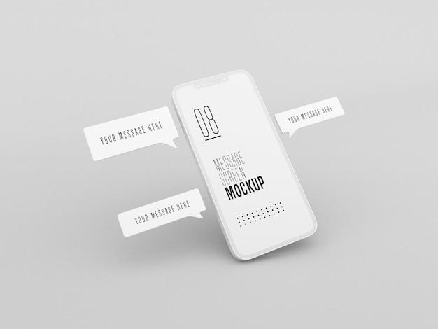 Conversazione di messaggistica chat sul mockup del telefono cellulare