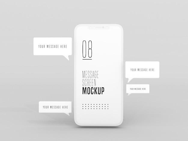 携帯電話のモックアップでのチャットメッセージングの会話