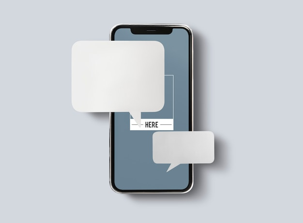 Messaggi chat sul mockup del telefono cellulare