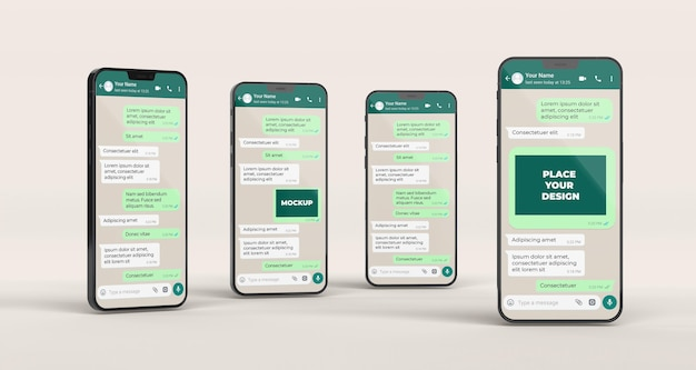 Chat mockup with smartphones