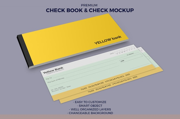 Check book and check mockup