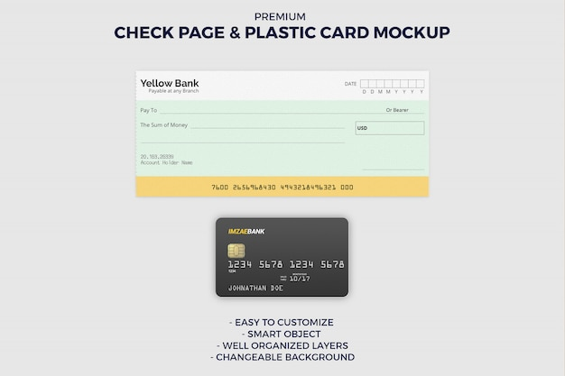 Check book page and credit card mockup