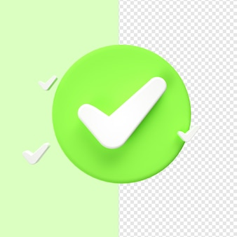 Check mark sign icon 3d rendering
