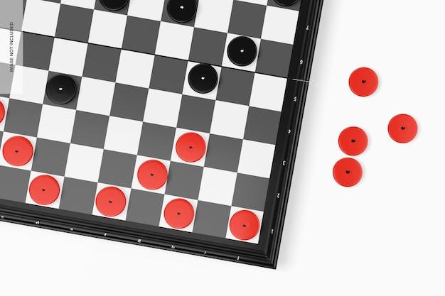 Checkers board mockup, close up