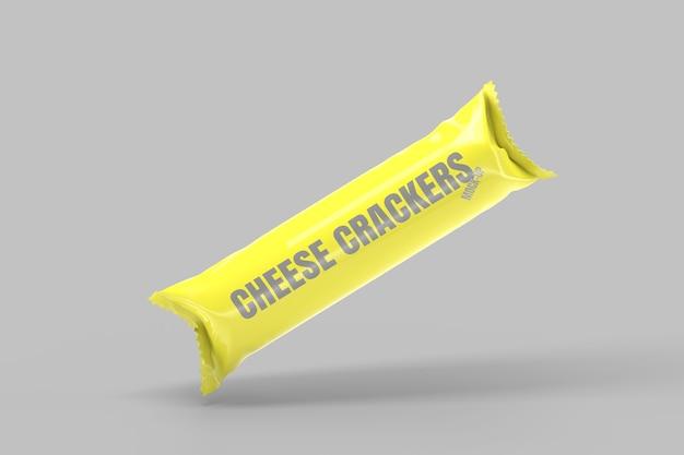 チーズクラッカーパッケージモックアップ3 dレンダリング