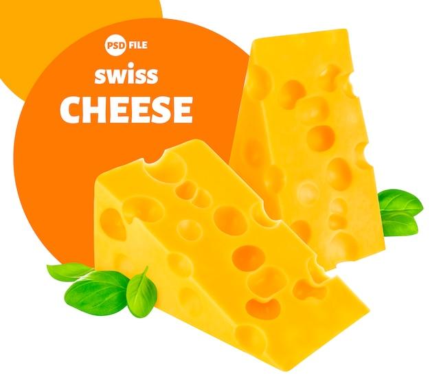 Сыр, кусок швейцарского эмменталя, изолированные на белом