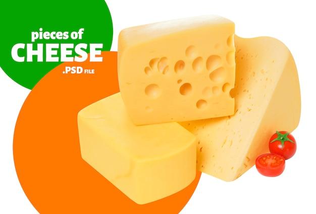 Сыр, кусочки швейцарского эмменталя и гауда