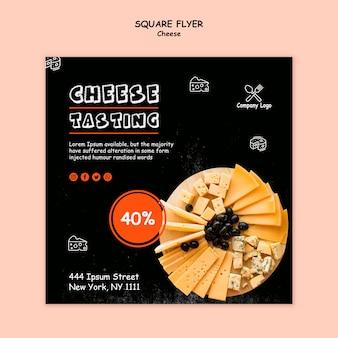 Degustazione di formaggi in stile flyer quadrato