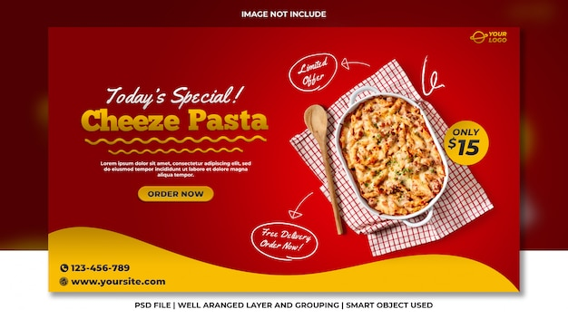 치즈 파스타 소셜 미디어 웹 사이트 배너 서식 파일