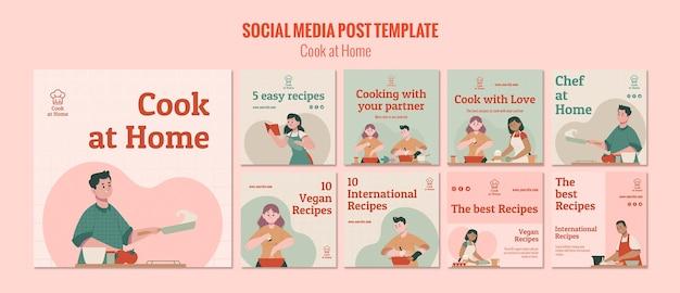 Modello di post social media chef a casa