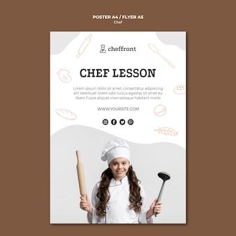 Disegno del poster di lezione di chef