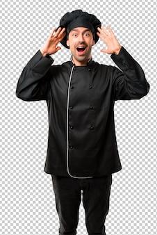 요리사 남자 놀라움과 충격을 표정으로 검은 색 유니폼.