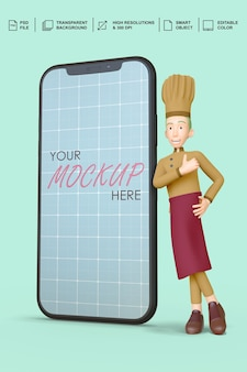 Chef standing next to a smartphone mockup