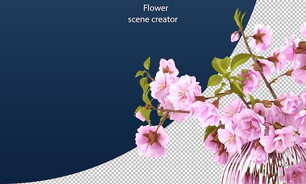 Изолированный контур вишни цветок вишни веселый цветок в банке вишневый цвет в банке