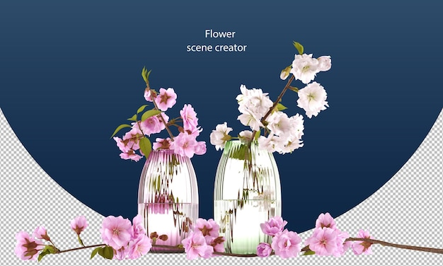 Cherry flower clipping path isolated cherry flower cheery flower in a jar cherry blossom in a jar