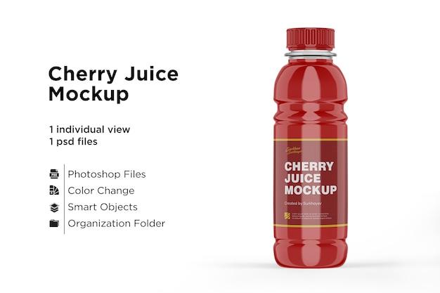 Мокап бутылки вишневого сока