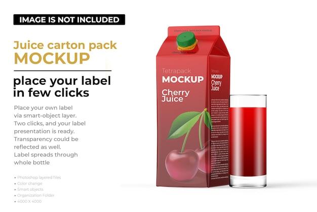 Cherry juice carton pack mockup