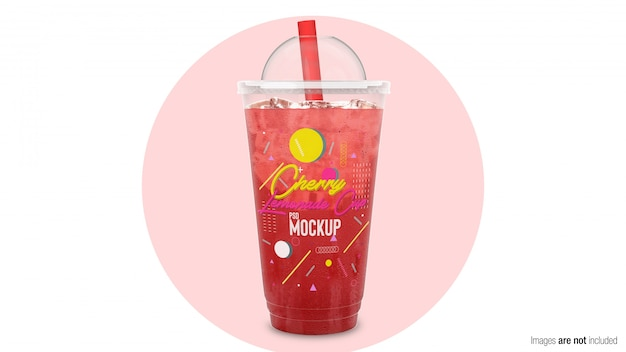 Cherry lemonade in plastic container